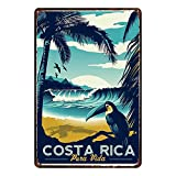 CDecor Costa Rica Blechschilder, Metall Poster, Retro