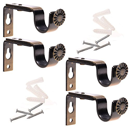 Ogrmar Bronze Color Heavy Duty Curtain Rod Brackets for 3/4 or 5/8 Inch Rod 4 Pack (Bronze)