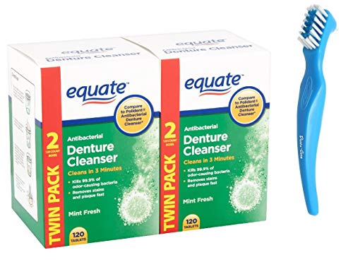 Denture Cleaner Tablets Equate Fresh Mint 240 Count Bundle with Dentu-Care Denture Brush for Maintaining Good Oral Care for Full/Partial Dentures