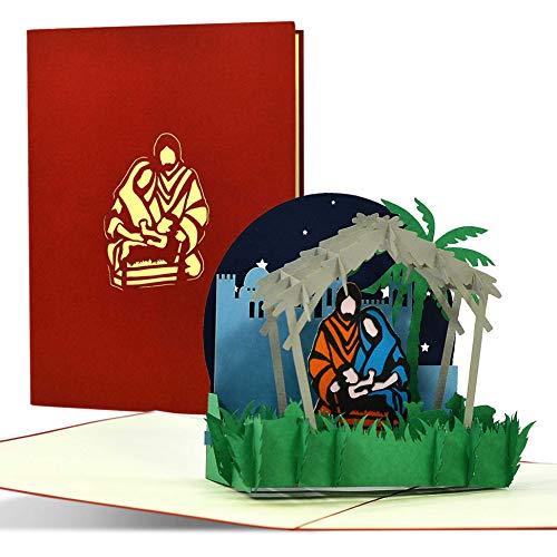Christliche Weihnachtskarte 3D Pop up mit Krippe, Grußkarte zur Adventszeit und zu Weihnachten, originelle Geschenkidee für z.B. ein Geldgeschenk, W36