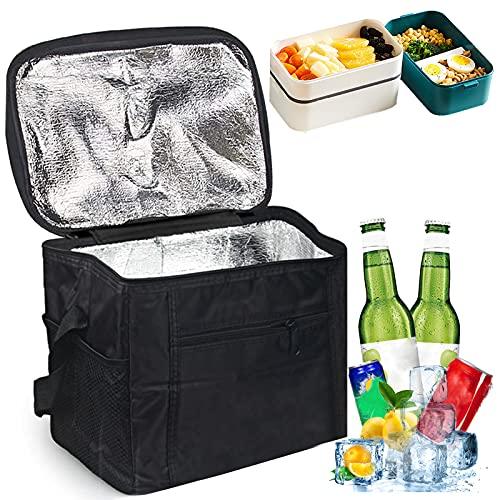 Sunshine smile Kühltasche Faltbar,Picknicktasche Kühltasche,Thermotasche Klein,Isoliertasche Lunch,Kühltasche Eistasche,Lunch Tasche,Kühlbox für Picknick 10L (schwarz)
