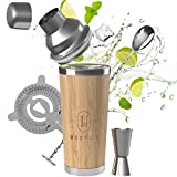 WOOTAIL Cocktail Shaker Set Bambus 750ml Volumen