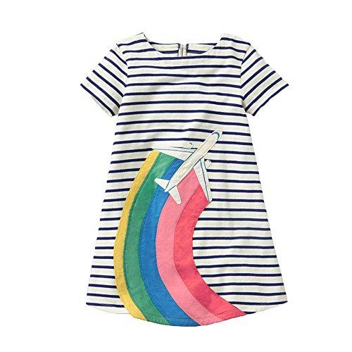 VIKITA VIKITA Mädchen Sommer Streifen Kurzarm Baumwolle T-Shirt Kleid JM6785 2T