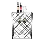 FGVBC Estante de Vino, 32 Botellas Estante de Almacenamiento de Vino Botella de Piso Soporte de Vino Vitrina de Licor de Mesa para el hogar Cocina KTV Bar Restaurante Negro, 53 20.5 71cm