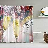 MANISENG Duschvorhang aus Polyestergewebe,Weihnachts Champagner Uhr,mit 12 dekorativen Badvorhängen aus Kunststoffhaken 72 x 72 Zoll