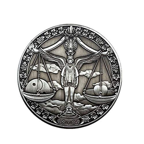 PRETYZOOM Sternbild Münze Waage Münze Geschenk Vintage-Stil Horoskop Münze Geburtstag Zeichen Glück Andenken Münze Stereoskopische Metallmünze Handwerk (Waage)