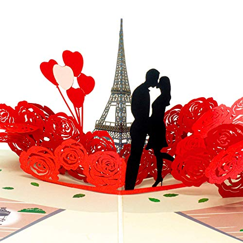 Paper Love Paris Lovers Valentines Day Pop Up Card, Handmade 3D Popup Greeting Cards, for Valentine's Day, Mothers Day, Wedding, Anniversary, Birthday, Love, All Occasions