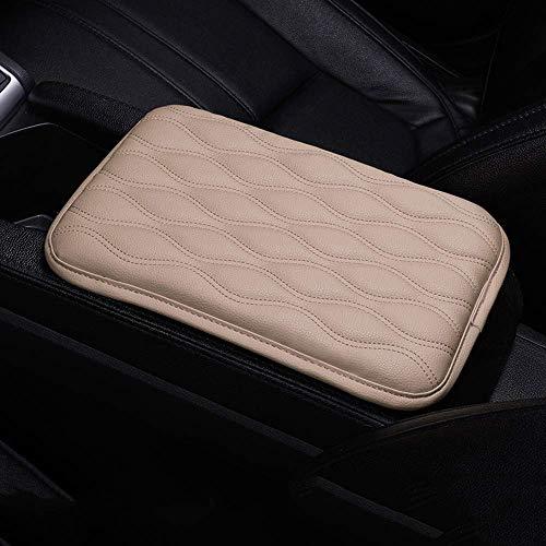 QINU Auto Center Console Cover Armrest Pads, PU Leather Universal Car Center Console Box Arm Rest Pads Cushion Protector (Beige)