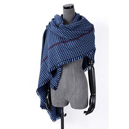 Xiao Huang li sjaal voor dames – herfst en winter dikke wol lattice sjaal klassiek warm groot blauw