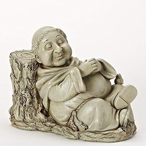 """Roman 10.25"""" Gray Nathan The Napping Monk Outdoor Patio Garden Statue"""