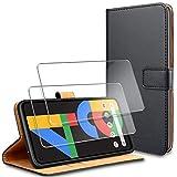 YNMEacc für Google Pixel 4a 4G Hülle, [2 Stück] Panzerglas Schutzfolie + Premium Handy Schutzhülle, Leder Wallet Tasche Flip Brieftasche Schale für Google Pixel 4a 4G Hülle 5.81