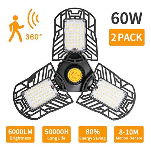 LED Garage Lights,Ceiling Light Bulbs Clamp 60W 6000LM E26/E27 Led Adjustable Light with 3 Panel Led Shop Lights for Garage Ceiling Basement Workshop (Radar Motion Sensor) (A 60W 2PACK)