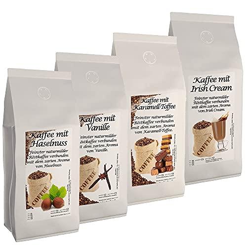 4 x 500g der leckersten Aromakaffee-Sorten Haselnuss, Irish Cream, Vanille, Karamell Toffee ganze Bohne