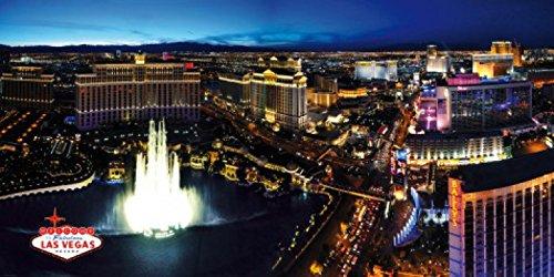 1art1 Las Vegas - Skyline Mit Bellagio Springbrunnen Bei Nacht, 3-Teilig Fototapete Poster-Tapete 360 x 180 cm
