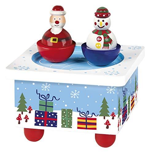 Moses. 16967 Weihnachten   Spieluhr aus Holz mit Zwei Figuren   Schneemann und Weihnachtsmann drehen Sich zum Sound von We Wish You a Merry Christmas, blau