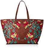 Desigual - Grand sac cabas ethnique femme en simili cuir avec broderie florale multicolore (20saxp86) taille 29,5 cm