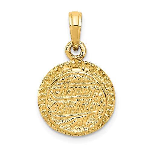 14ct geel goud massief gepolijst niet graveerbaar verjaardagstaart met kaars in hanger - afmetingen 19.7x13.8mm