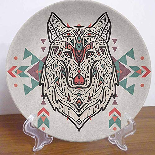 LCGGDB Tribal 10' Ceramic Decorative Plate,Charming Lion Like Wolf Head with Paisley Design Ornaments Print Decorative Ceramic Wall Plate for Upscale Events, Dinner Parties, Weddings