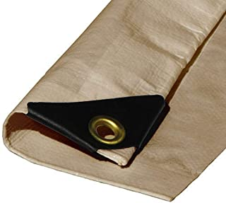 (Beige/Tan) Heavy Duty Premium Poly Tarp 12 Mil Thickness 3 Ply Coated Reinforced Canopy 6 oz 3 Layer (10'x20')