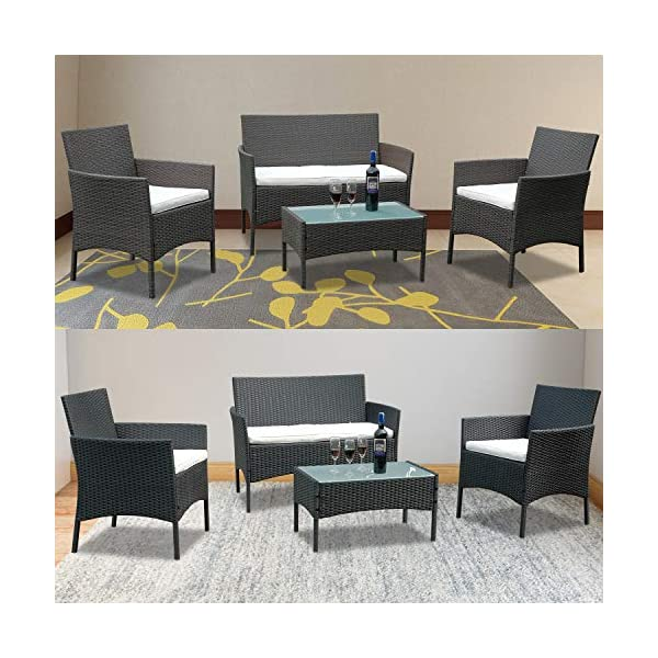 Hengda Gartenmöbel Set Poly Rattan Sitzgruppe Lounge Set Langlebig Lounge Set für 4 Personen - Mit 2-er Sofa…