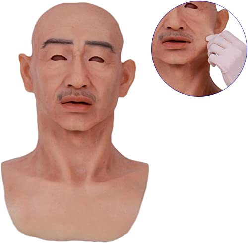 Venta barata NACHEN Crossdresser Cosplayer Realista Viejo Hombre Hombre Hombre máscara de látex Hombre Adulto máscara de Arriba Completa Realista Viejo Hombre máscaras  servicio considerado