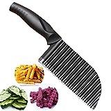 PANNIXIA Cortador ondulado, cortador de patatas, cortador de verduras, cuchillo estriado, cortador de patatas fritas para niños, cortador de patatas fritas