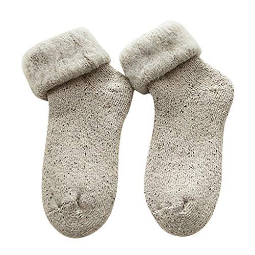 KaloryWee Damen Winter Super dick Baumwollsocken Mittlere Strümpfe Haussocken Bodensocken Einfarbig Warme Socken Atemberaubend