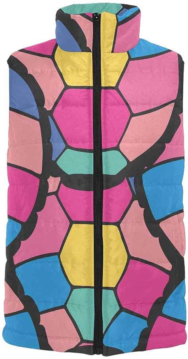InterestPrint Men's Lightweight Keep Warm Puffer Vest for Outdoor Stylized Turtle Shells in Cartoon Style XL