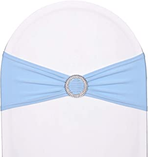 SweetEver Pack of 50 Stretch Spandex Chair Sashes for Wedding Party Banquet Decoration Elastic Bulk Chair Cover with Buckle Engagement Event Birthday Graduation Meeting Light Blue
