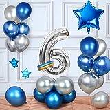 MMTX Cumpleaños Globos 6 Años Azul, Decoracion Cumpleaños Globos de Látex para Cumpleaños para Niños (6 Años)
