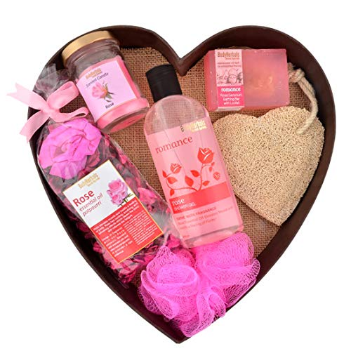 BodyHerbals Rose Surprise Bathing Gift Set For Anniversary, Birthday & Wedding – Luxury Bath And Body Kit (Rose Shower Gel 200ml, Rose Bathing Bar 100gms, Rose Potpourri, Rose Scented Candle, Natural Loofah, Bath Puff)