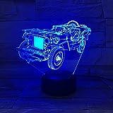 Forma de vehículo todoterreno antiguo luz nocturna 3D ilusión óptica lámpara de iluminación LED decoraciones de luz luces nocturnas control remoto de 16 colores regalos de cumpleaños y Navidad para