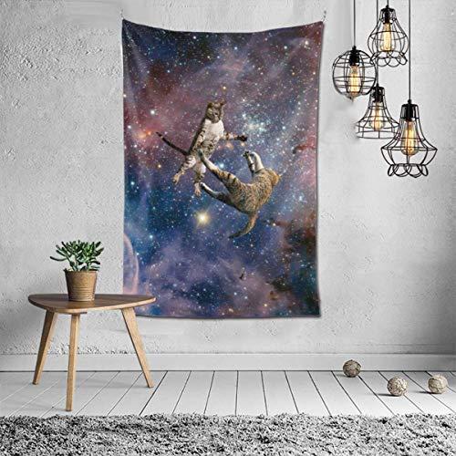 N\A Sala de tapices Hippie Hippy Throw Tapices, Tapiz de Pared para Sala de Estar, Dormitorio Dormitorio, Dormitorio Collage, Toallas de Playa Alfombrilla de Picnic (Galaxy Stars Space Wars Cats)