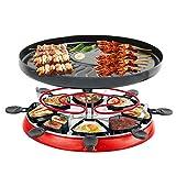 JZH-Wine set Griglie per Raclette per 3-5 Persone BBQ al Coperto Senza Fumo Gourmet Tradizionale Party Grill con 8 Padelle Antiaderenti Controllo del Calore Termostatico Regolabile 1300W