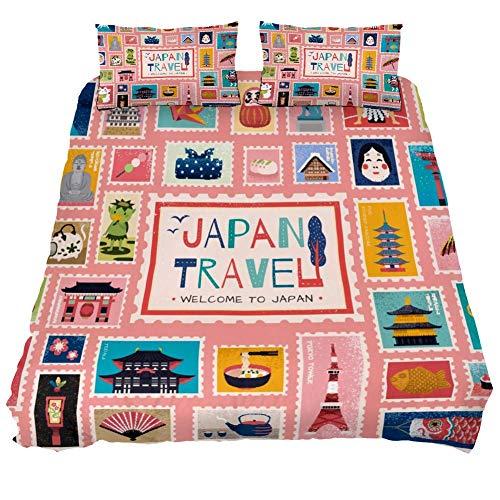 Eslifey - Set di biancheria da letto con copripiumino e cerniera, motivo simboli tradizionali giapponesi in francobollo, per letto matrimoniale, 200,7 x 200,7 cm