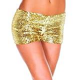FAMILIZO Pantalones Cortos Mujer Básicos Gimnasio Pantalones Cortos Mujer Verano Deporte Suelto Cintura Alta Short Yoga Pantalones de Playa Calientes High Waist Lentejuelas (M, Oro)