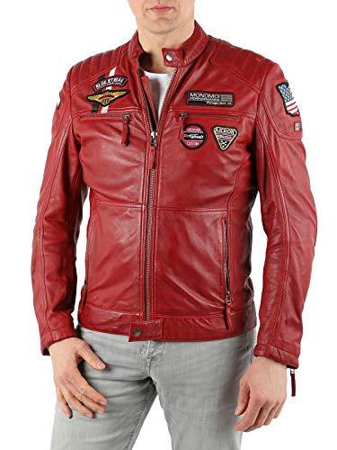"""MONOMOI Lederjacke Herren Echtleder, rot, Biker Lederjacke """"Stefan"""" Herren, Motorradjacke Herren mit Protektoren, Motorrad Lederjacke, Motorcycle Leather Jacket for Men"""