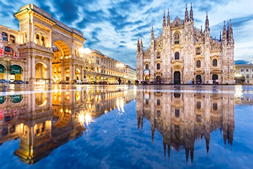 Italy Duomo Milan Reflection Puddle Street Arch Town square (P-001604) - Poster Art Print on Canvas (36x24inch)
