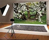 HD 10x7ft写真の背景花が咲く新鮮な花古い木の枝緑の草芝生自然風景旅行写真の背景背景写真ビデオパーティー子供写真スタジオ小道具