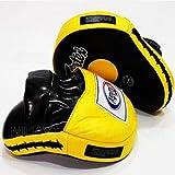 Fairtex Contoured Boxing MMA Muay Thai Karate Training Target Focus Punch Pad Mitts (Black/Yellow)