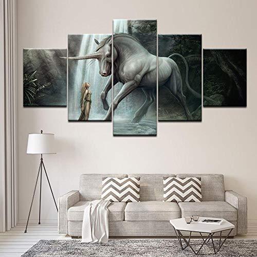 ZhuJingGege Print Wall Art Einhorn Wallpaper Auf Leinwand Für Home Wohnzimmer Büro Eingerichtet...
