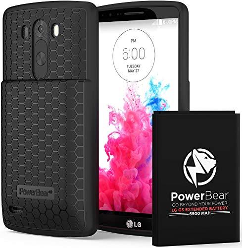 PowerBear LG G3 - Batería extendida (6500 mAh, Incluye Funda y Carcasa y batería de 15%)