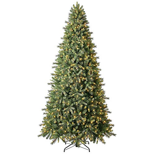 Evergreen Classics 9 ft Pre-Lit Norway Spruce Quick Set Artificial Christmas Tree, Warm White LED Lights