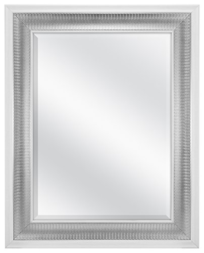 MCS 18x24 Inch Beveled Wall Mirror White and Woven Silver Finish, 24.5 -
