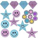 20 piezas de parches de lentejuelas para niños, parches para planchar, parches adhesivos para niños / adultos, ropa, rodillas, emoticonos, estrellas, diamantes, pequeños