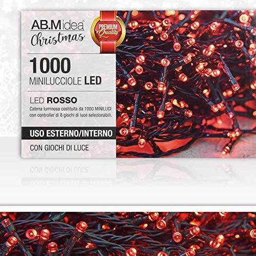 AB.M Idea LUCI di Natale LED EST/INT Bianco/Bianco+Bianco Caldo/Blu/Rosso/Multicolor CM.3,5+3MT. 31V/7,2W (Rosso, 1000LED)