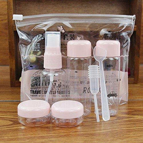 NPLE--7Pcs/set Mini Travel Mini Plastic Transparent Empty Makeup Container Bottle