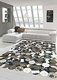 Merinos Kuhfell Teppich Patchwork in Braun Schwarz Creme Größe 80 x 300 cm