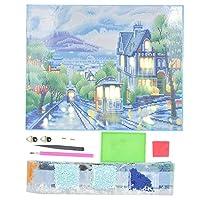 ドリルセットと丸い家の装飾の町の風景パターン3次元LEDダイヤモンド絵画、ダイヤモンド絵画、バースタディ