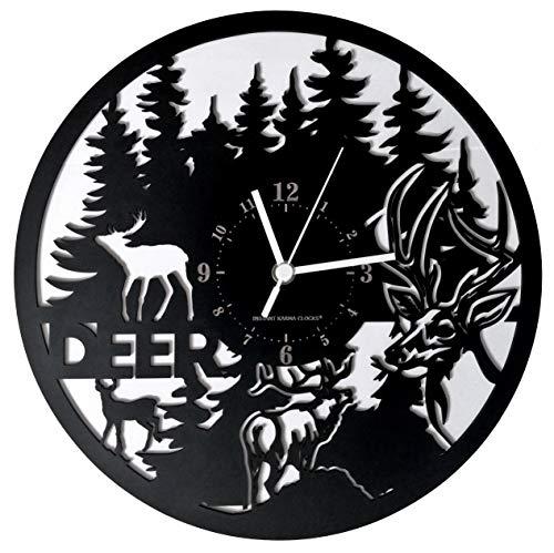 Instant Karma Clocks Reloj de Pared Ciervo Deer Bosque Cazador, Negro